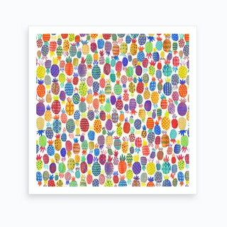 Cute Pineapples Square Art Print