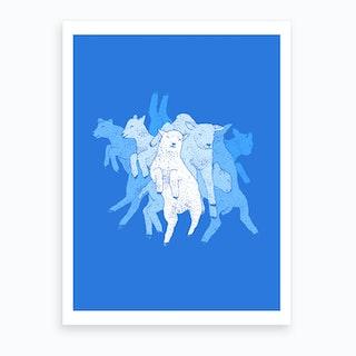 Dancing Lambs Art Print
