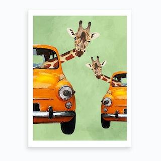 Giraffes In Yellow Cars Art Print