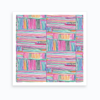 Watercolor Linear Meditation Pink Square Art Print