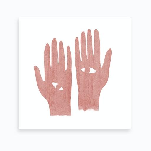Eye Hands Pink Square Art Print