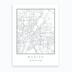 Munich Germany Street Map Art Print
