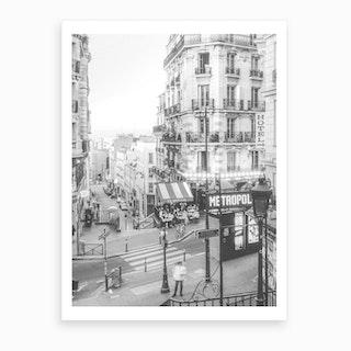 Paris Montmatre Black And White Art Print