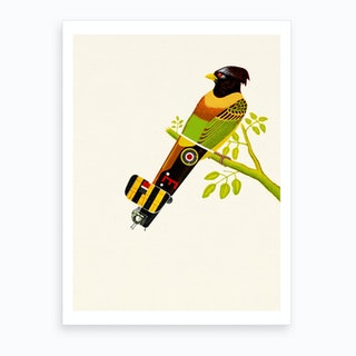 Aerofauna Green Bird Art Print