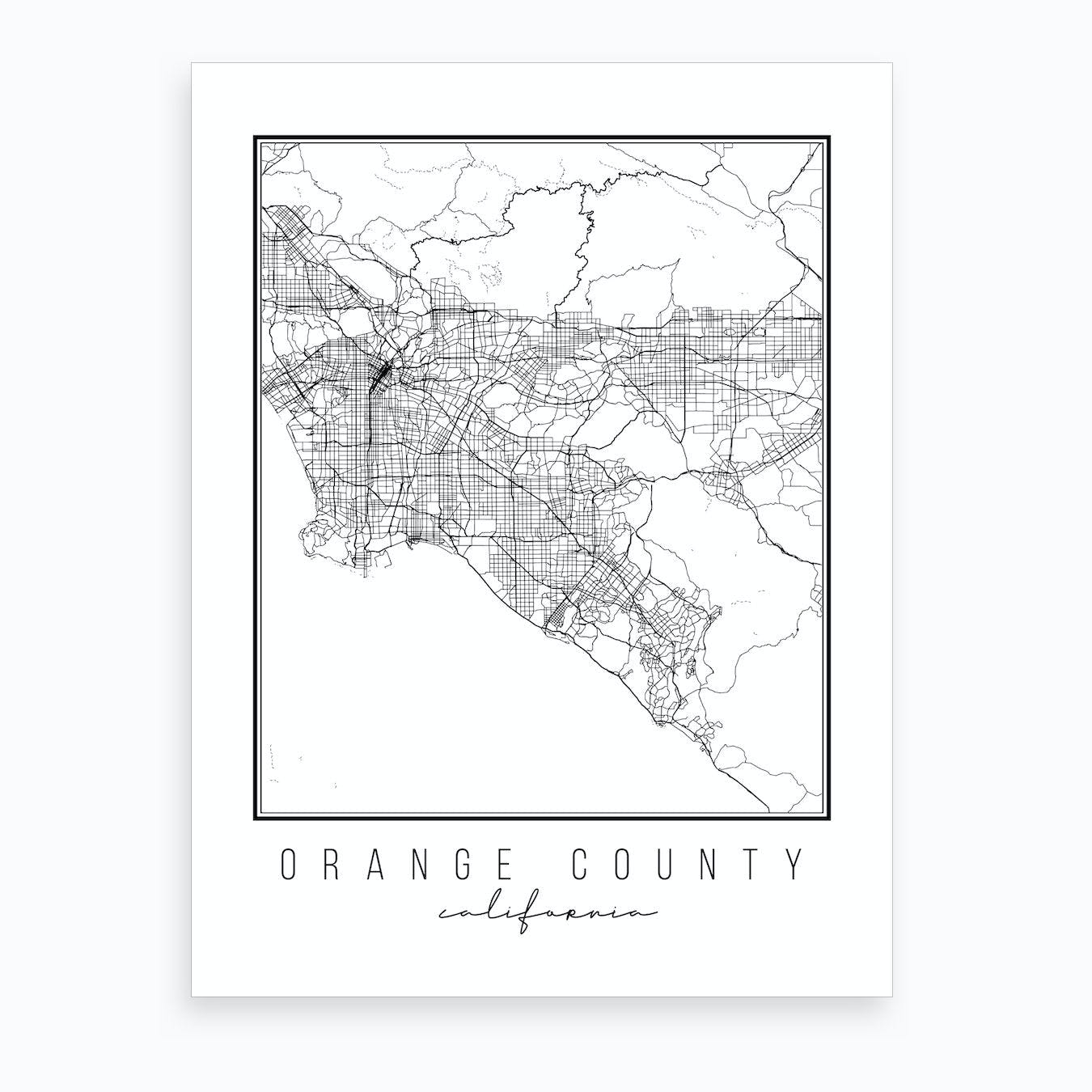 picture relating to Printable Map of Orange County Ca named Orange County California Highway Map Artwork Print