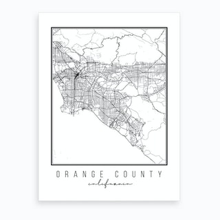 Orange County California Street Map Art Print