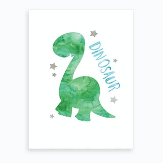 Green Dinosaur Art Print