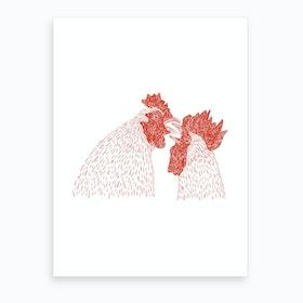 Gay Cockerels Art Print