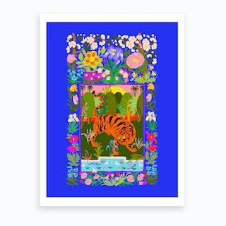 Tiger Garden Blue Art Print