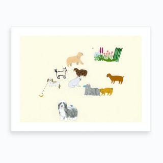Dogs And Flower Art Print