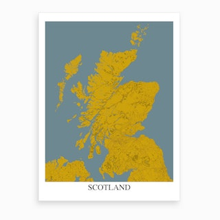 Scotland Yellow Blue Map Art Print
