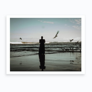 Monk On The Beach Art Print