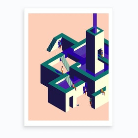 Impossible Architecture Blush And Green Art Print