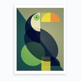 Mid Century Geometric Toucan Art Print