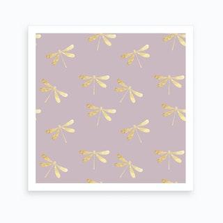 Purple Dragonfly Pattern Art Print