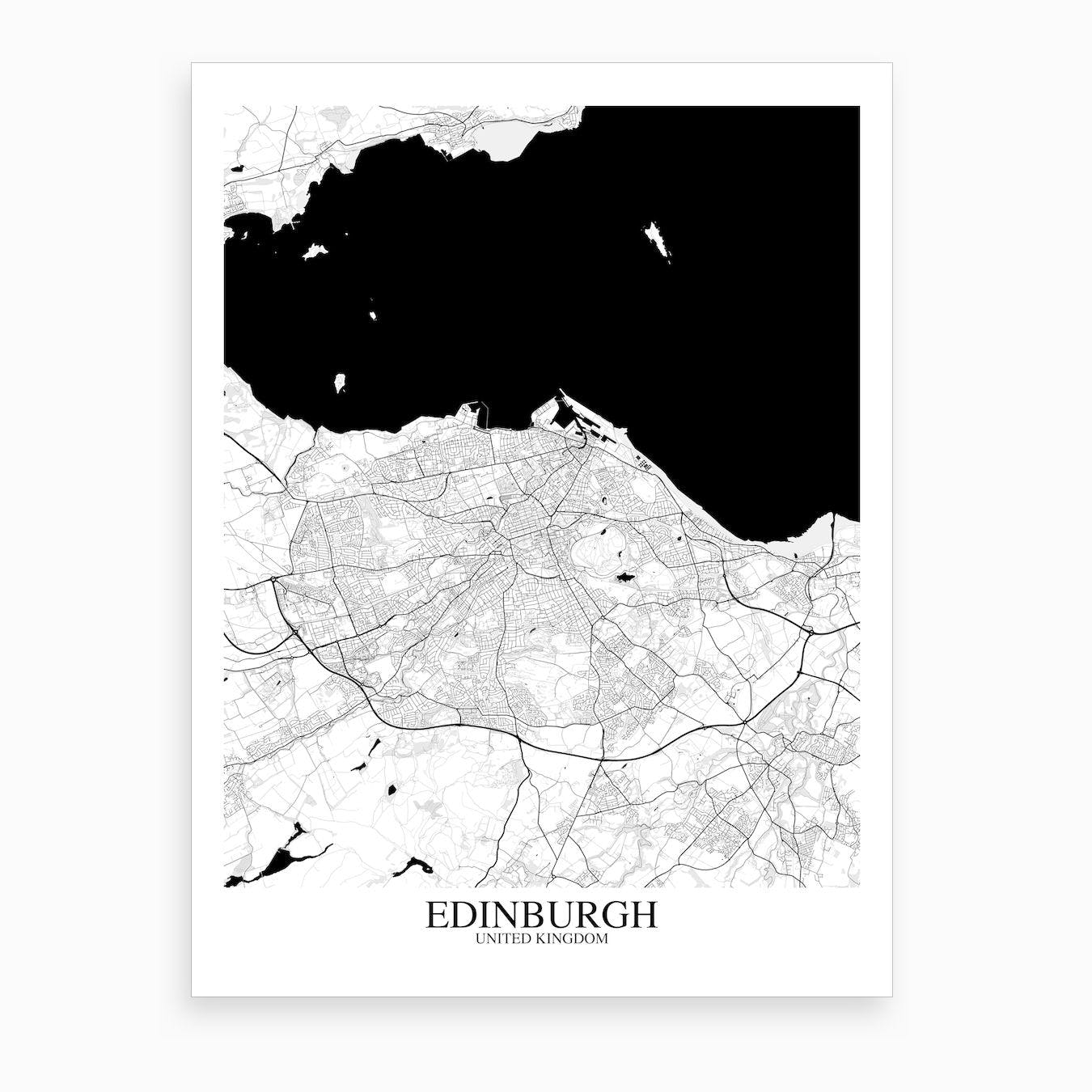 Edinburgh White Black Map Art Print