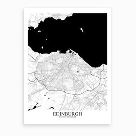 Edinburgh White Black Map Art Print