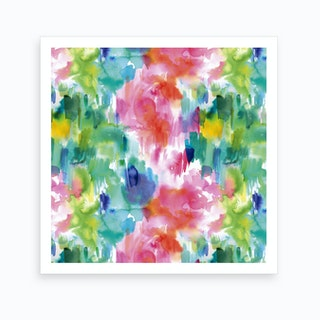 Painterly Waterolor Texture Square Art Print