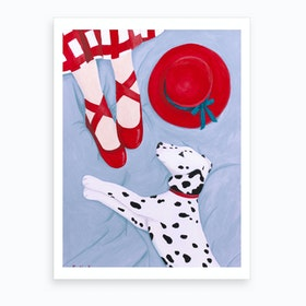 Dalmatian With Red Hat Art Print