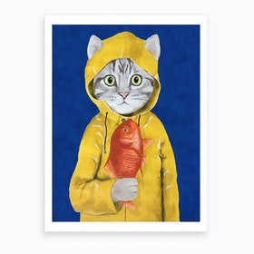 Cat With Fish Art Print