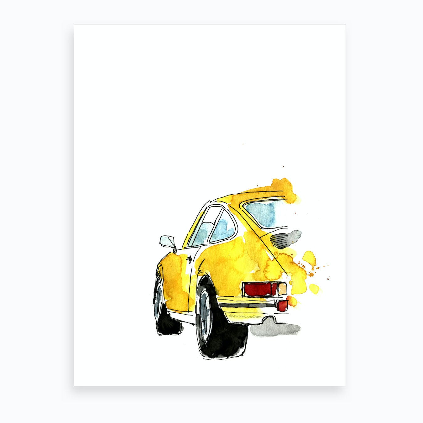Yellow Porsche 911 Art Print