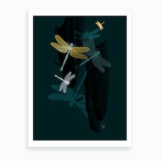 Midnight Dragonflies Art Print