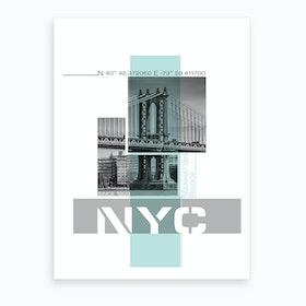 Poster Art Nyc Manhattan Bridge & East River Turquoise Art Print