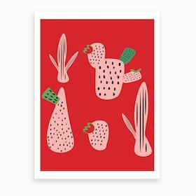 Mid Mod Cactus Red Art Print