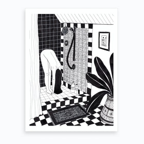 She Likes To Do Yoga Stretches In The Shower Art Print