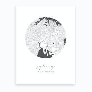 Sydney Australia Circle Map Art Print