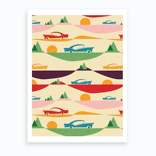 50s Retro Road Trip Beige Art Print