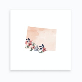 Colorado Watercolor Floral State Art Print