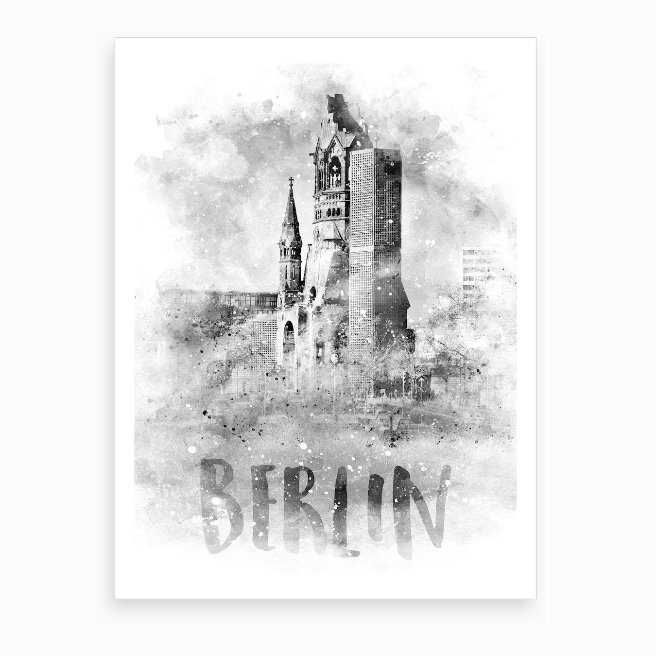 Watercolor Berlin Kaiser Wilhelm Memorial Church Art Print