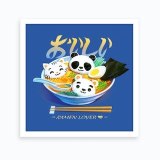 Ramen Panda Cat Bear Art Print