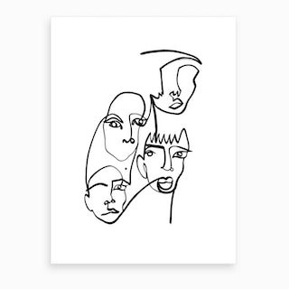 Blind Drawing Four Faces Art Print
