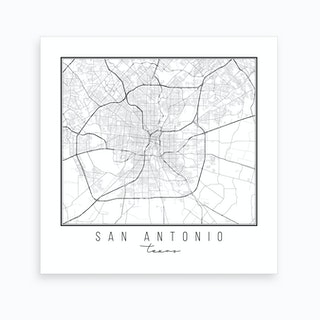 San Antonio Texas Street Map Art Print