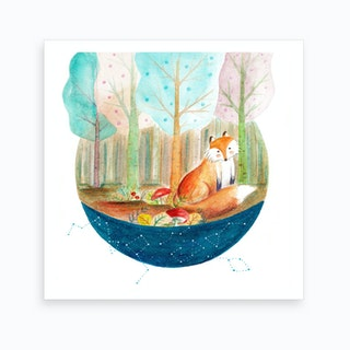 Fox And Whale 1 Art Print