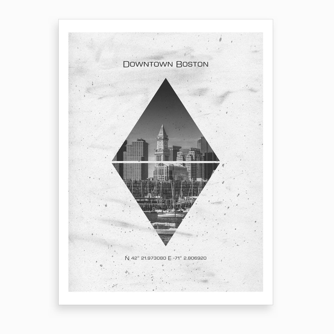 Downtown Boston Coordinates Art Print