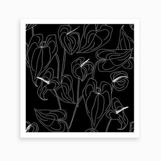 Black And White Linear Anthurium Art Print