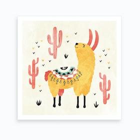 Yellow Llama Art Print