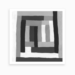 Painted Color Block Squares In Black And White Art Print