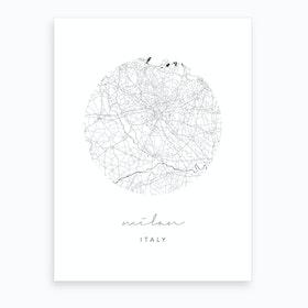 Milan Italy Circle Map Art Print
