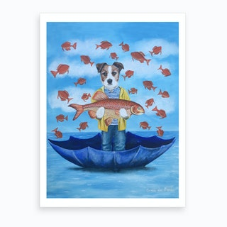 Jack Russell With Big Fish Art Print