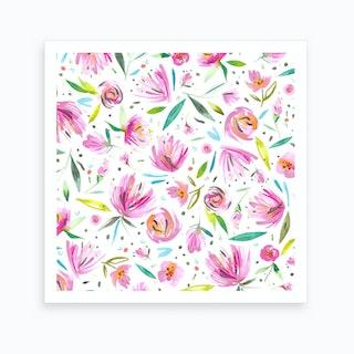 Peonies Pink Square Art Print