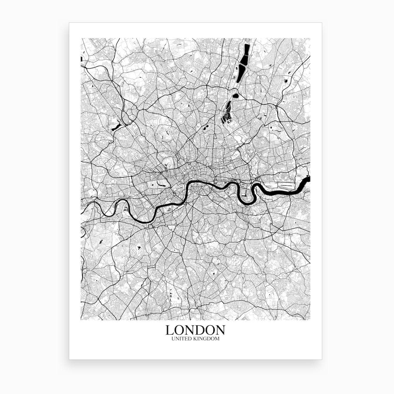 Map Of Uk Black And White.London White Black Map Art Print