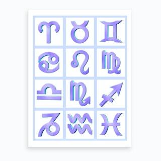 Zodiac Signs Framed Purple Art Print