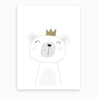 Cute White Bear With Crown Art Print