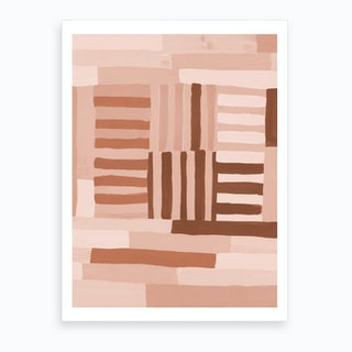Painted Color Block Grid In Pink Art Print