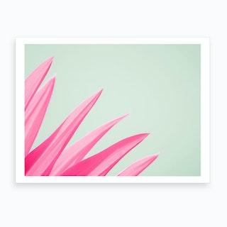 Pink Flower Leaves Art Print
