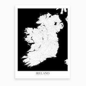 Ireland White Black Map Art Print